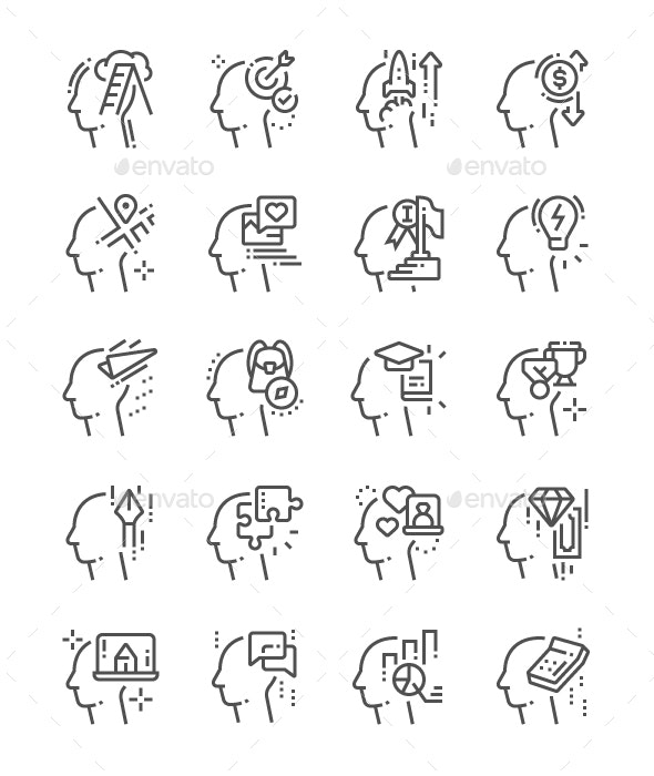 Human thoughts Line Icons - People Characters