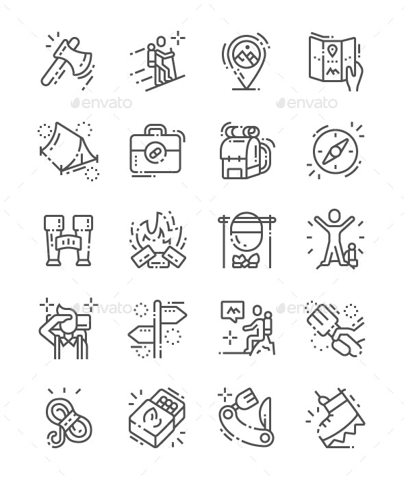 Hiking Line Icons
