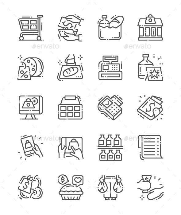 Supermarket Line Icons - Food Objects