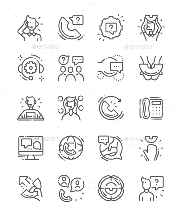 Support service Line Icons - Business Icons