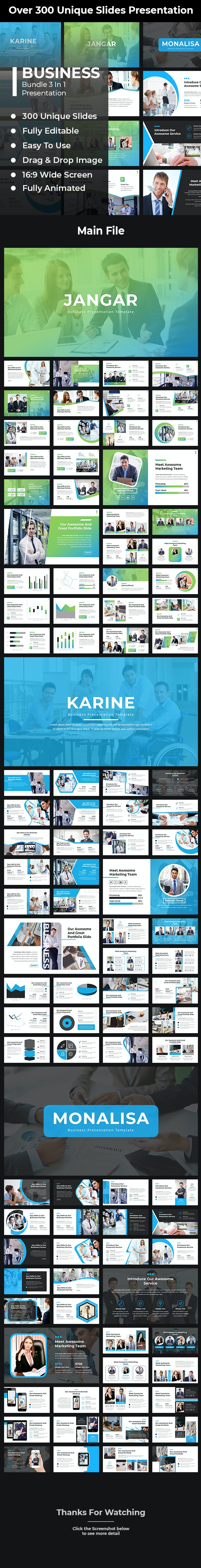 Business Bundle 3 In 1 PowerPoint Template - Business PowerPoint Templates
