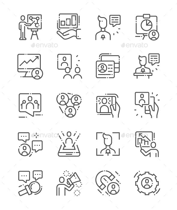 Engaging Presentations Line Icons - Business Icons