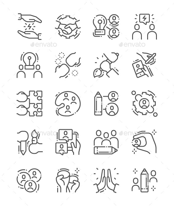 Creative Team Line Icons - Business Icons