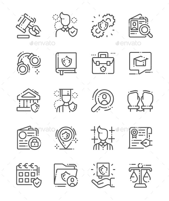 Jurisprudence Line Icons - Miscellaneous Characters