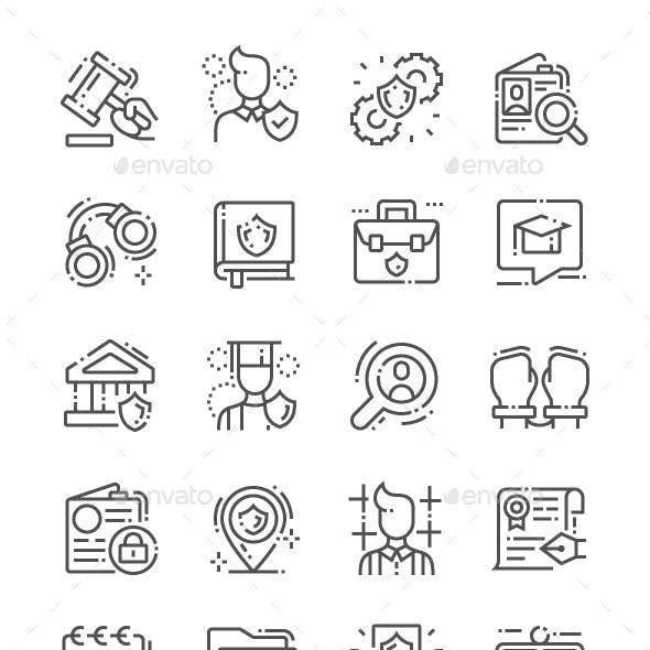 Jurisprudence Line Icons