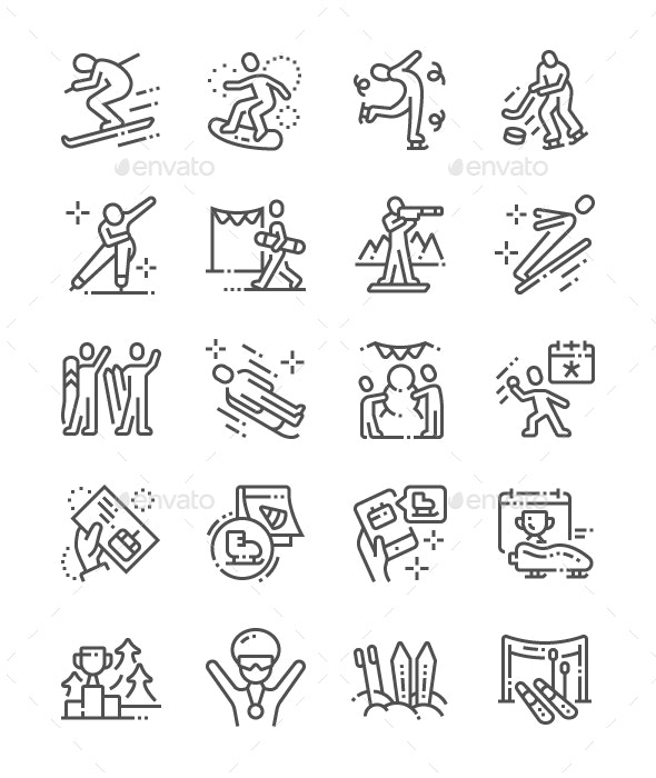 World Snow Day Line Icons - Miscellaneous Characters