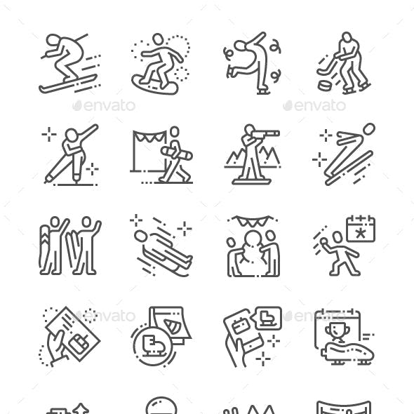 World Snow Day Line Icons