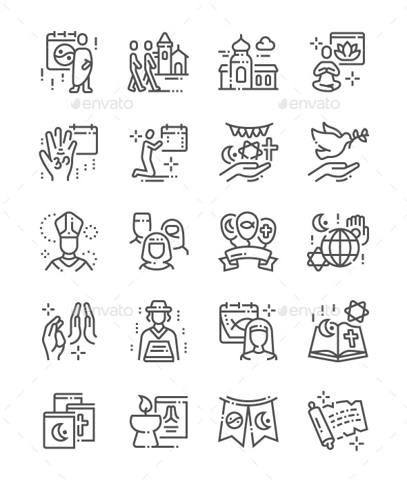 World Religion Day Line Icons - People Characters
