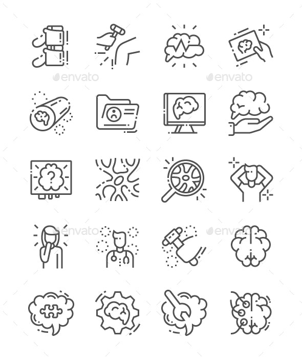 Neurology Line Icons - People Characters
