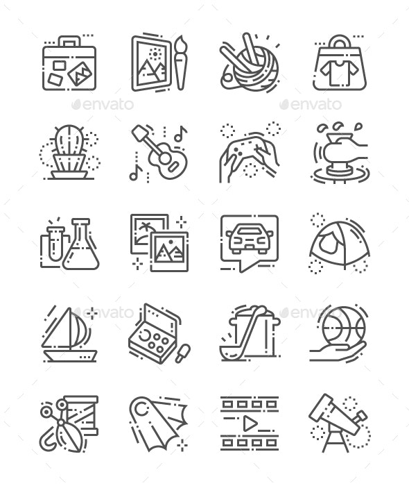 Hobbies Line Icons - People Characters