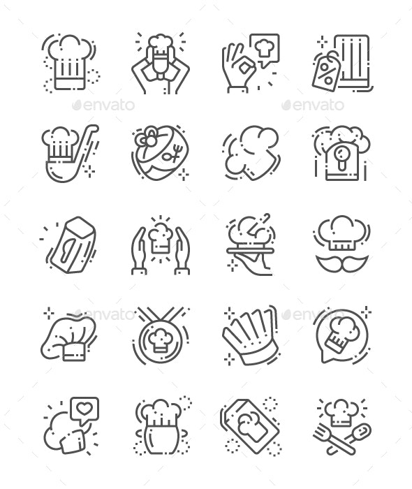 Chef's hat Line Icons - Miscellaneous Characters