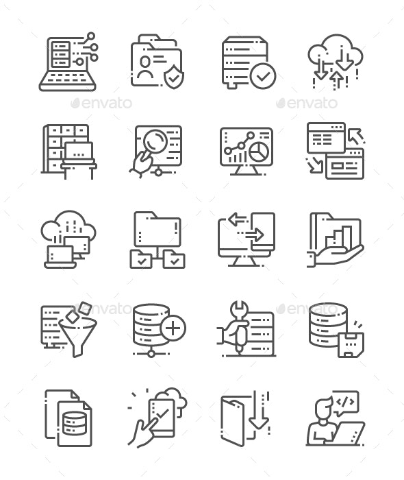 Big Data Line Icons - Miscellaneous Characters