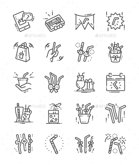 Drinking Straw Day Line Icons - Food Objects