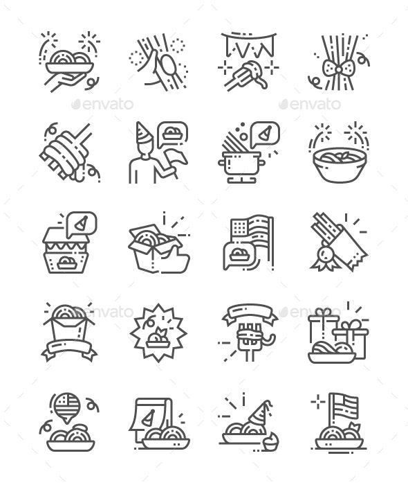 National Spaghetti Day Line Icons - Food Objects