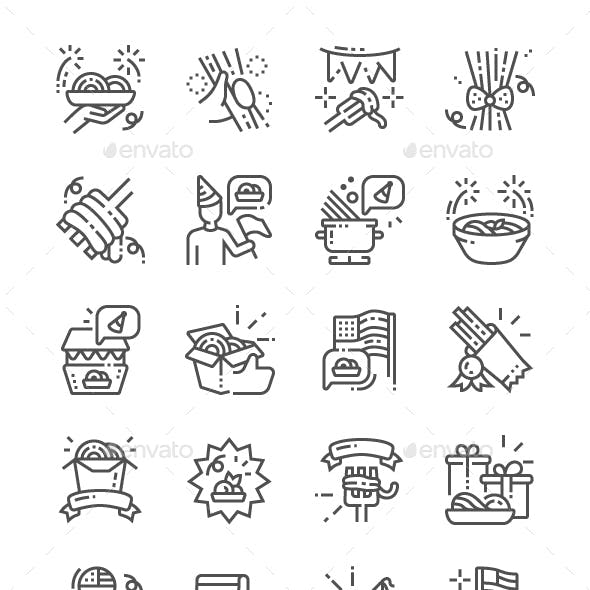 National Spaghetti Day Line Icons
