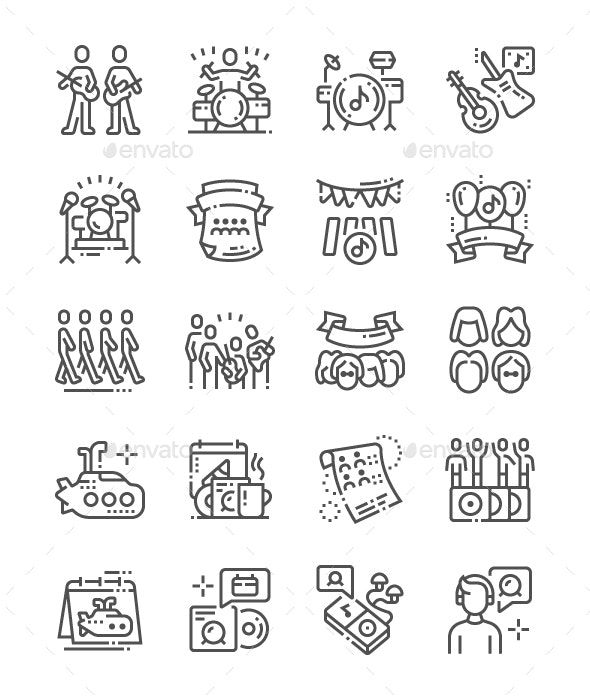 World Beatles Day Line Icons - Miscellaneous Characters