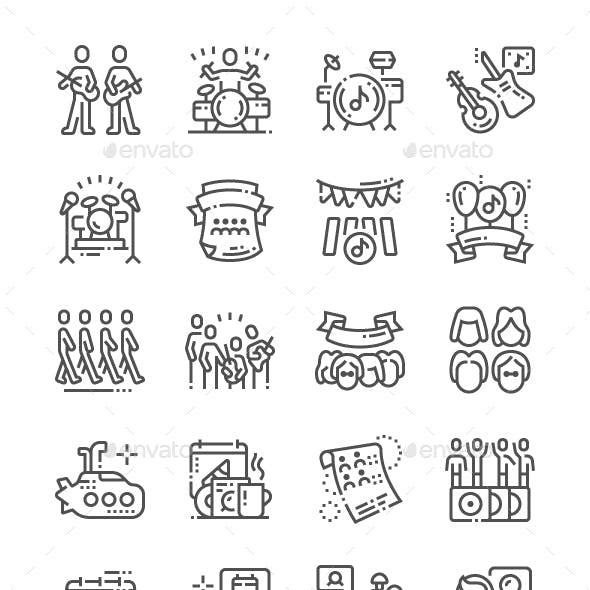 World Beatles Day Line Icons