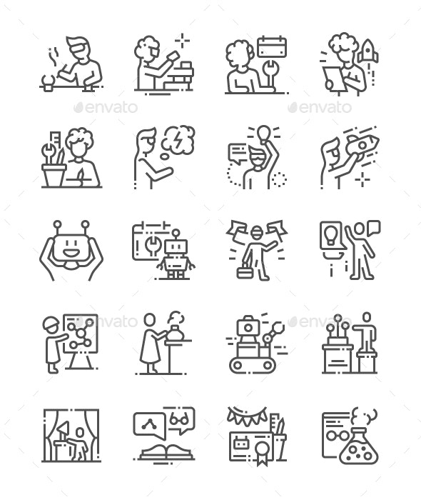 Kid Inventors Day Line Icons - Miscellaneous Characters