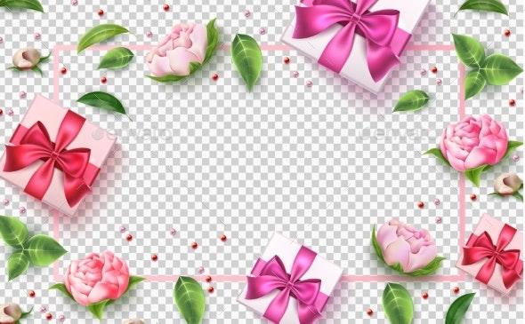 Vector Valentine Day Rose Flower Present Box - Valentines Seasons/Holidays