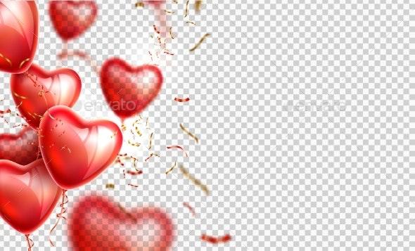 Vector Heart Balloon Gold Confetti Valentines Day - Valentines Seasons/Holidays