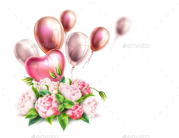 Vector Realistic Pink Peony Elegant Bouquet - Flowers & Plants Nature