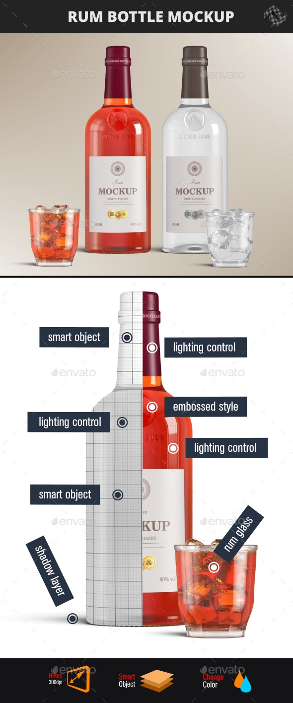 Rum Brandy Bottle Mockup - Product Mock-Ups Graphics