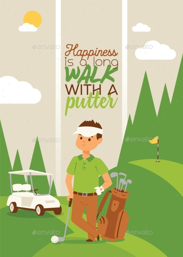 Golf Vector Golfers Man Character in Sportswear - Sports/Activity Conceptual