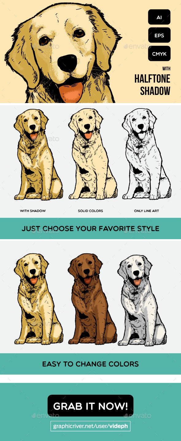 Golden Retriever Object with Vintage Style - Animals Characters