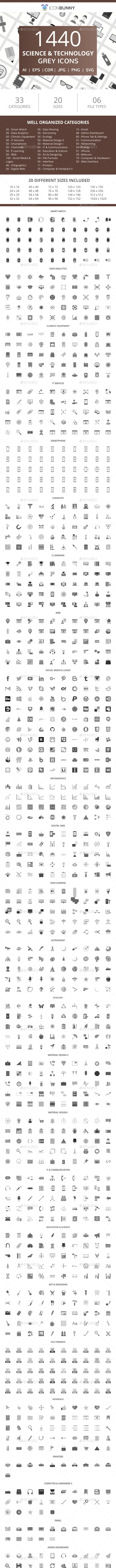 1440 Science & Technology Flat Greyscale Icons - Icons