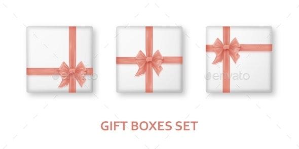 Pastel Pink Gift Boxes with Ribbons and Bows - Seasons/Holidays Conceptual