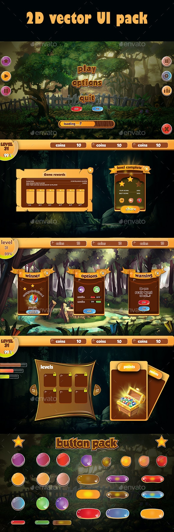 Forest Theme UI Pack - GUI Components - User Interfaces Game Assets