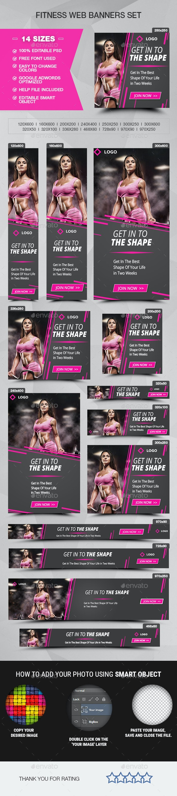 Fitness Banners - Sport Banner Set - Banners & Ads Web Elements