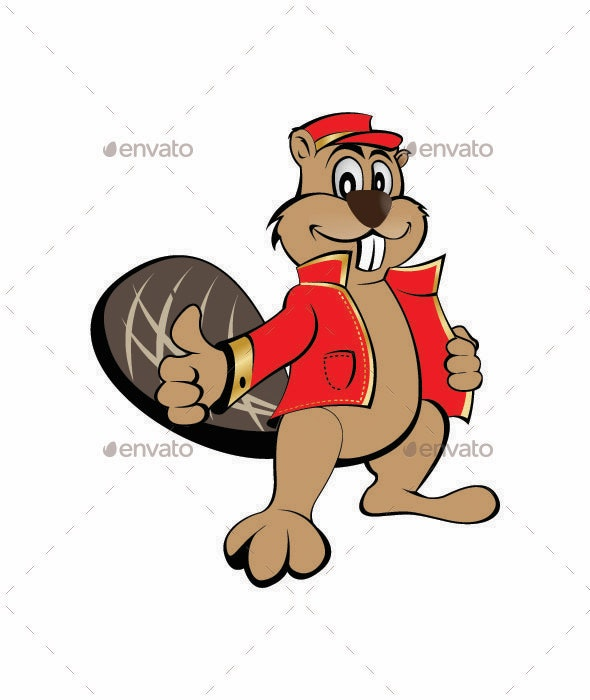 Beaver with a Red Jacket - Animals Characters
