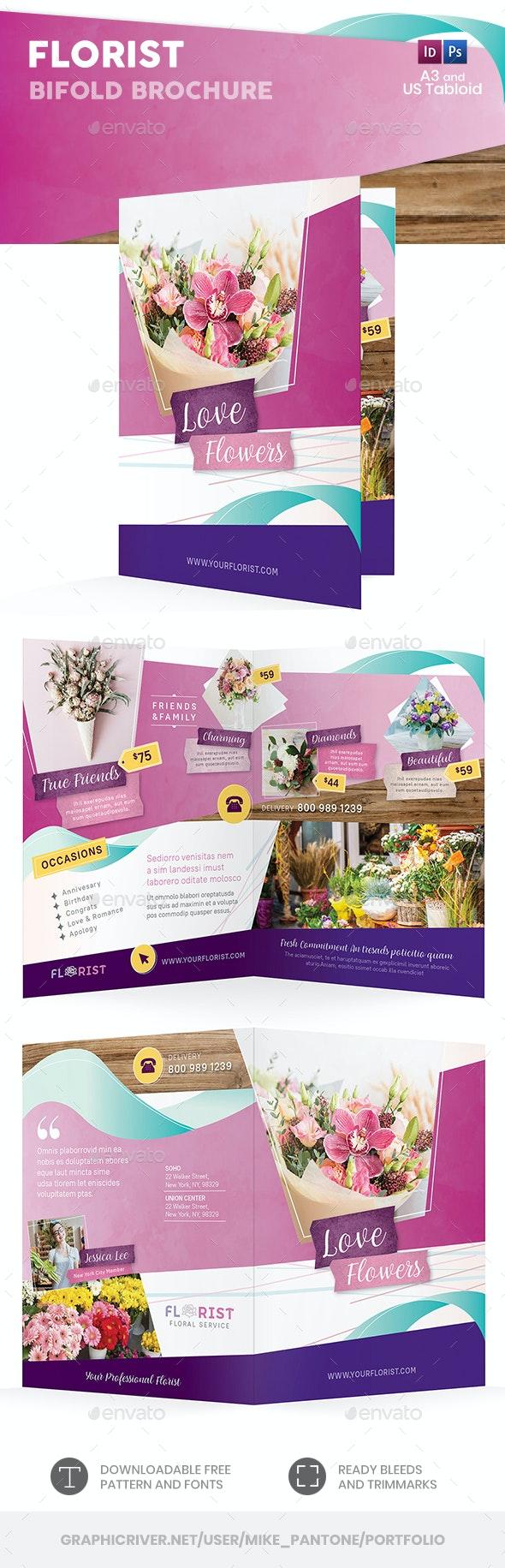 Florist Bifold / Halffold Brochure 4 - Informational Brochures