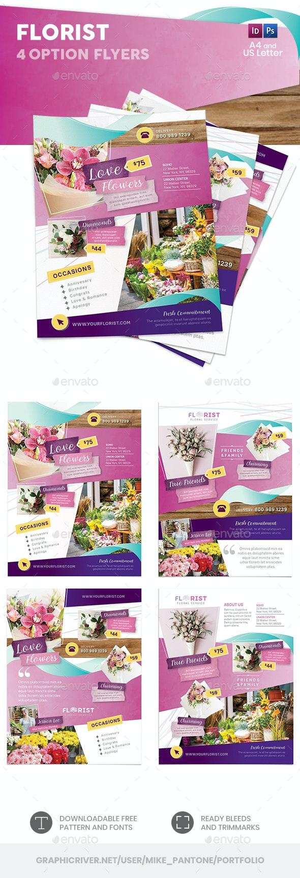 Florist Flyers 4 – 4 Options - Commerce Flyers