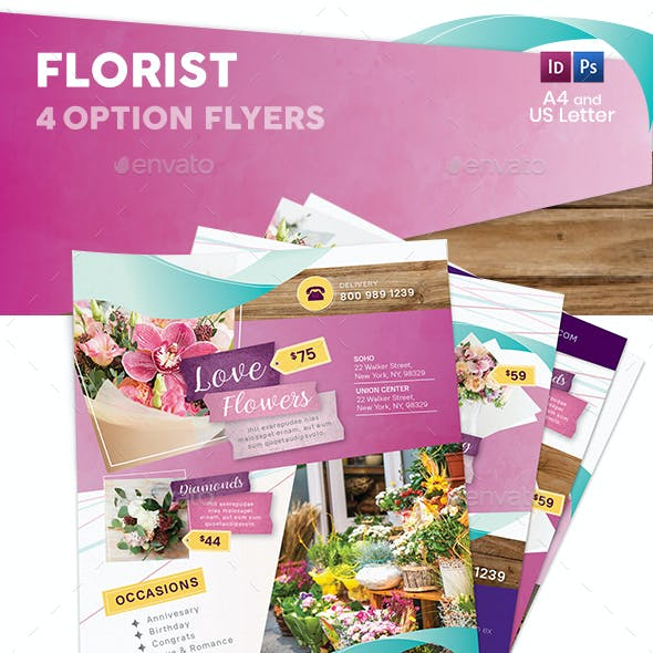 Florist Flyers 4 – 4 Options