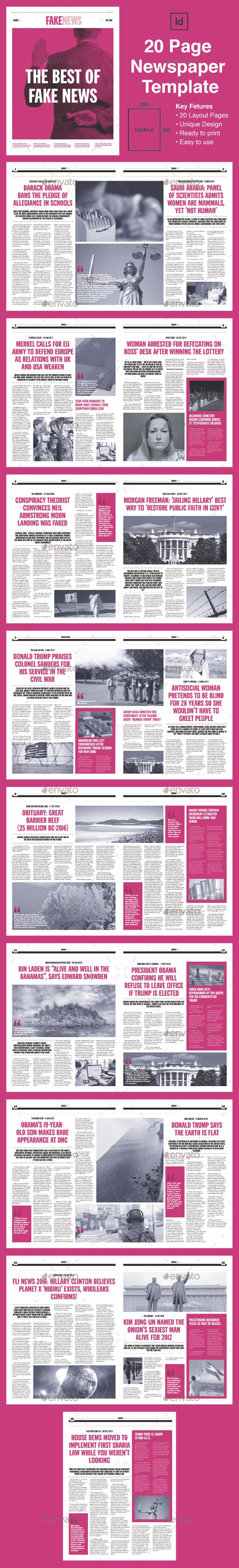 FakeNews - 20 Page Newspaper Template (Tabloid) - Newsletters Print Templates
