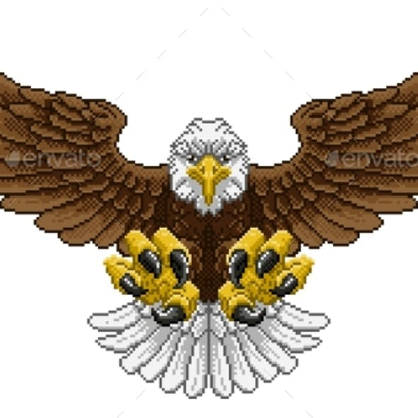 Eagle Pixel Art Arcade Game Cartoon Mascot
