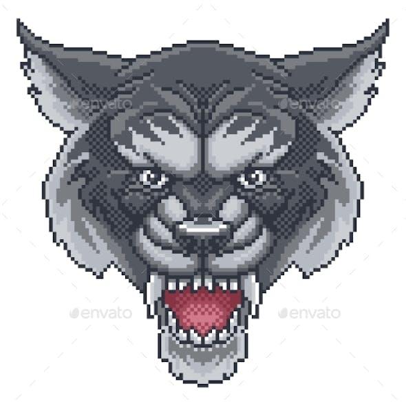 Wolf Pixel Art Arcade Game Cartoon Mascot