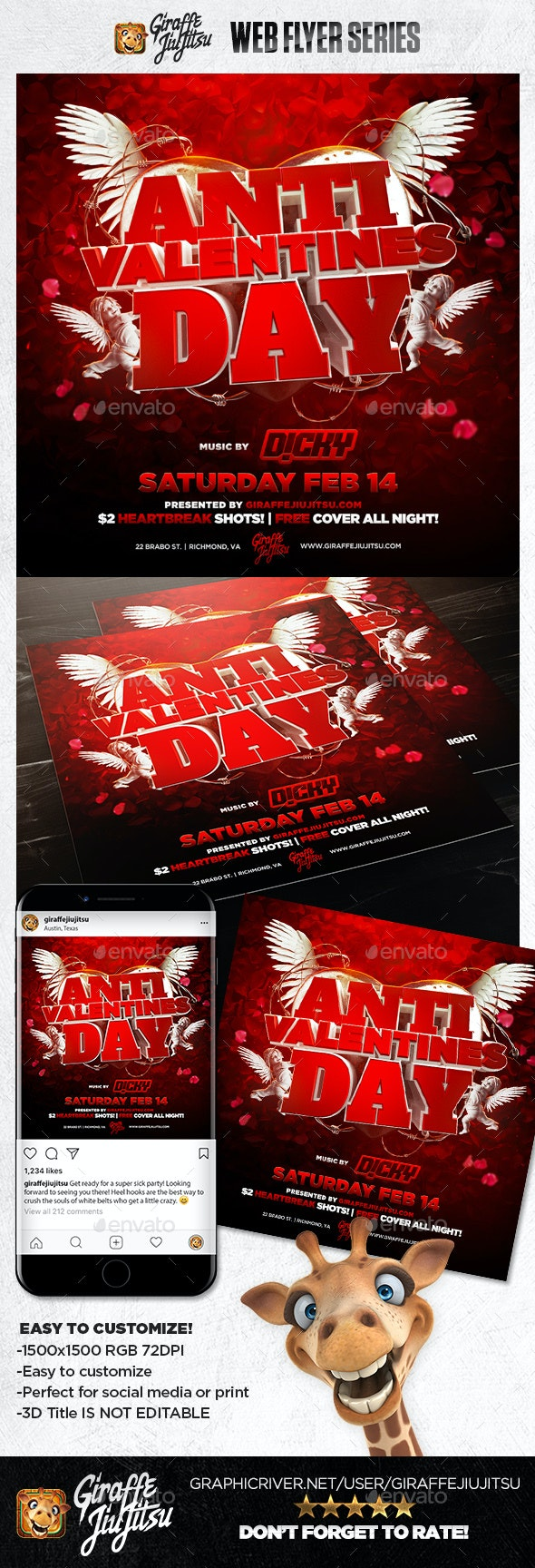 Anti-Valentine's Day 2019 Web Flyer Template - Social Media Web Elements