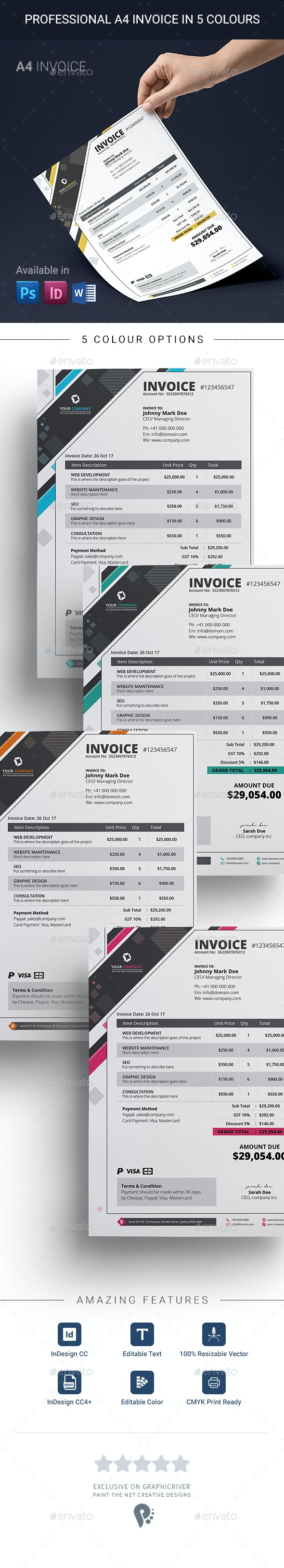 Modern Multi-purpose Professional A4 Invoice Template - Proposals & Invoices Stationery
