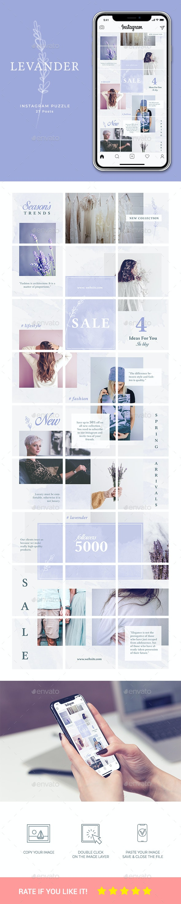 Instagram Puzzle Template - Social Media Web Elements