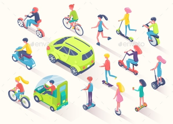 Ecotransport People Using Eco Friendly Cars Auto - Man-made Objects Objects