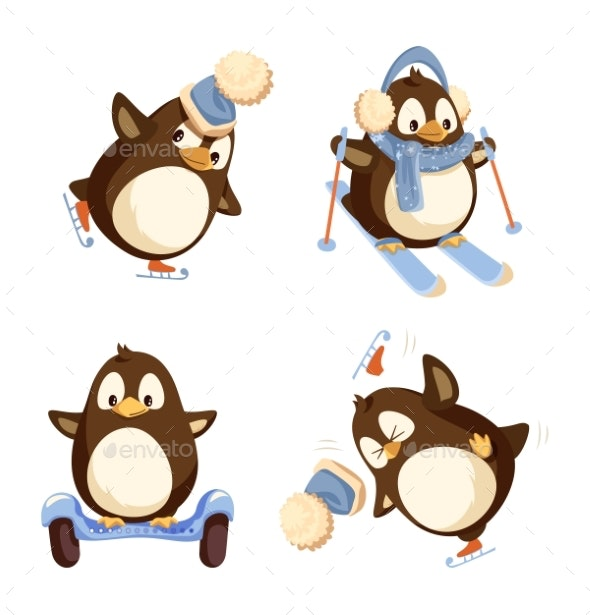 Set of Pinguins Winter Activities Vector Isolated - Animals Characters