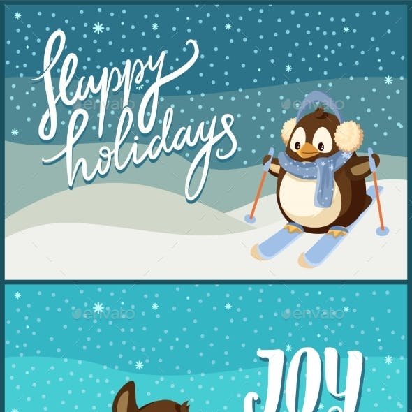 Merry Christmas Happy Holidays Joy Poster Penguins
