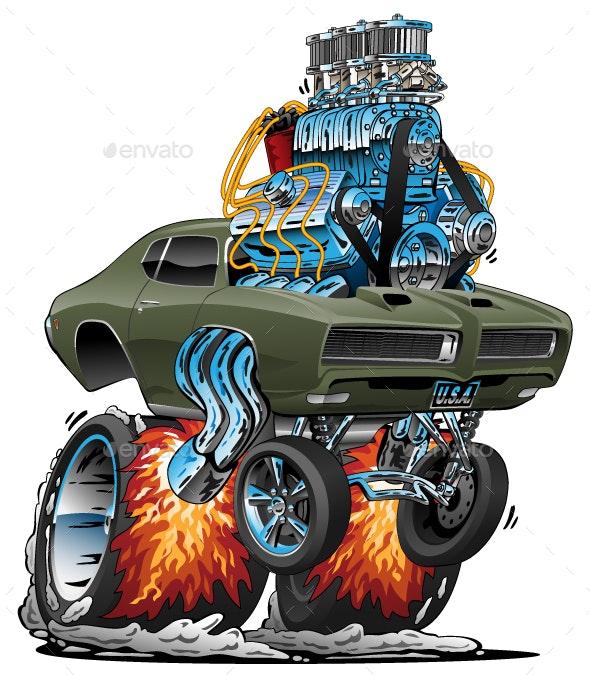 Classic American Muscle Car Hot Rod Cartoon Vector Illustration - Miscellaneous Vectors