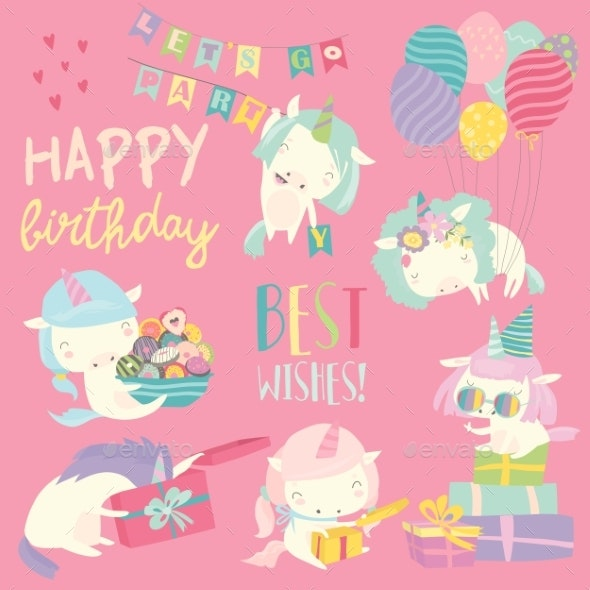 White Cartoon Unicorns with Birthday Theme - Animals Characters