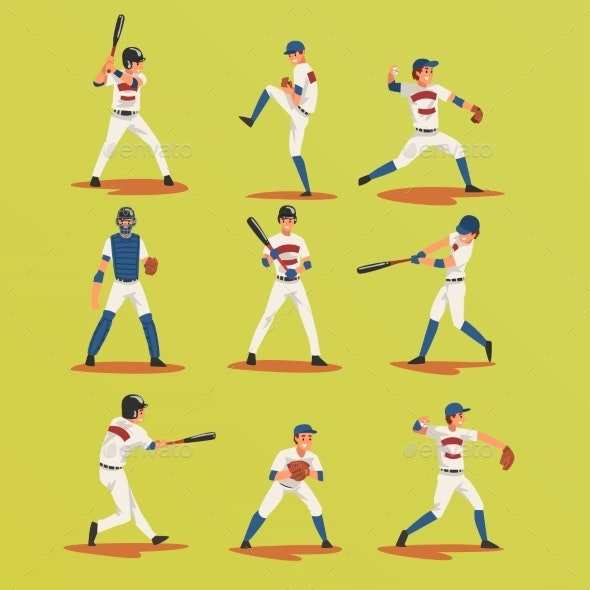 Baseball Players in Different Poses Set - Sports/Activity Conceptual