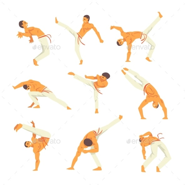 Male Capoeira Dancer Character Showing His Skills - Sports/Activity Conceptual