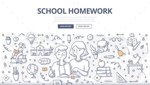 School Homework Doodle Concept - Miscellaneous Conceptual